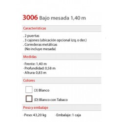 Bajo Mesada 1.40 mts. 3006 - Platinum