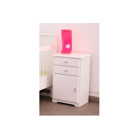 Mesa de Luz JAVA Puerta y 2 Cajones - Color: Blanco - Dadone HDH