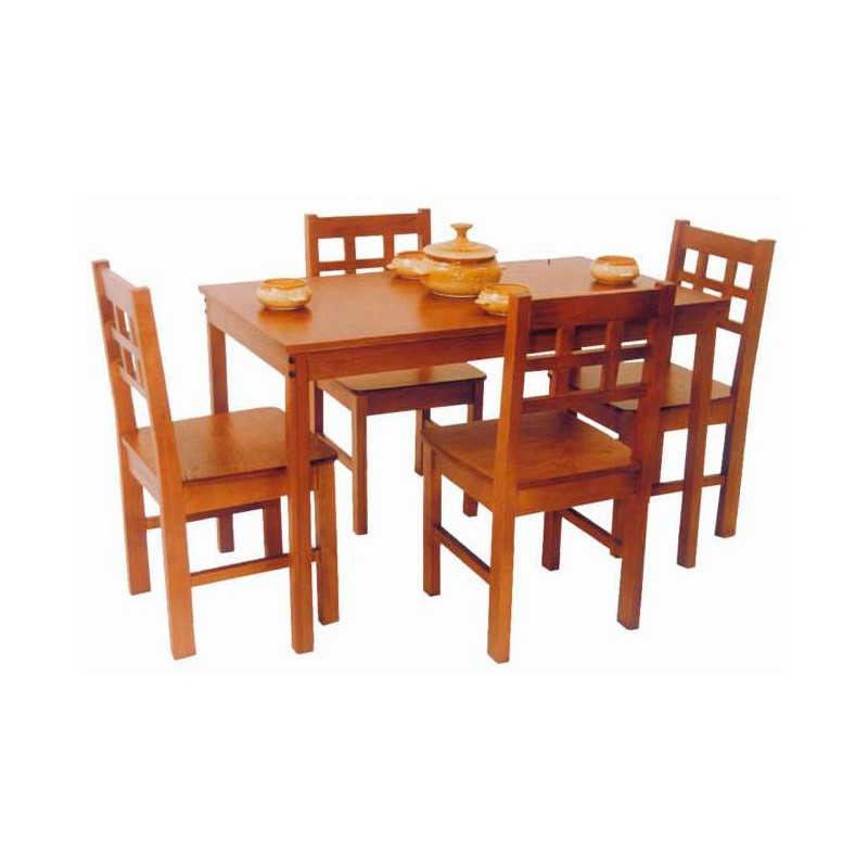 Juego de comedor chicago x4 cravero muebles 365 for Comedores de madera baratos