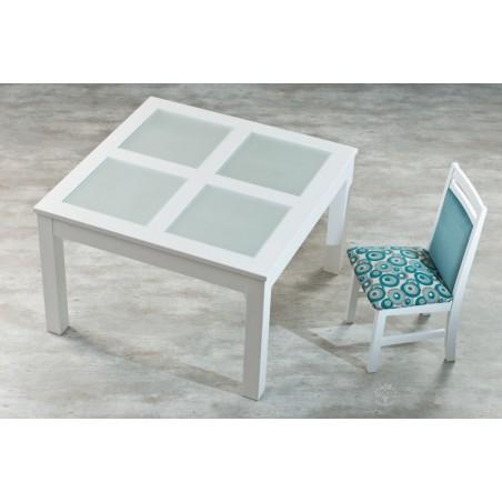 Mesa MONTECATINI Tapa con Vidrios Repartidos 1.25m x 1.25m (Color Blanco) - Dadone HDH